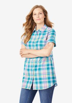 Short Sleeve Button Down Seersucker Shirt, DEEP TURQUOISE PRETTY PLAID