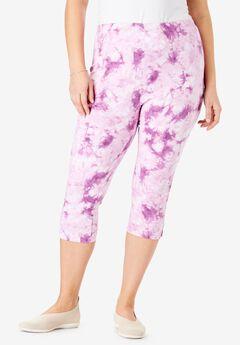 Stretch Cotton Printed Capri Legging, RADIANT ORCHID TIE DYE