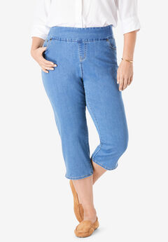 Smooth Waist Capri Jean, LIGHT STONEWASH