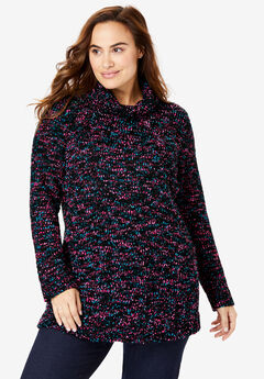 Speckled Soft Cowl Neck Sweater,