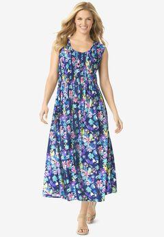 Pintucked Floral Sleeveless Dress, EVENING BLUE POPPY BLOSSOM