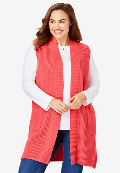 Open Front Shaker Sweater Vest,