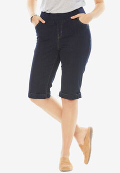 Smooth Waist Bermuda Jean Short, INDIGO
