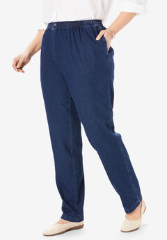 Elastic-Waist Cotton Straight Leg Pant, INDIGO