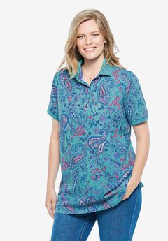 Perfect Printed Polo Shirt, SOFT AQUA PAISLEY