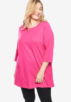 Scoop Neck Three-Quarter Sleeve Perfect Tunic,