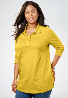 Perfect Long Sleeve Polo Tunic, GOLDEN MUSTARD