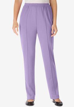 Elastic-Waist Soft Knit Pant, SOFT IRIS