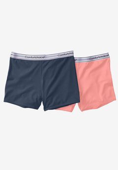 2-Pack Stretch Knit Boyshorts  by Comfort Choice®, NAVY CORAL PACK, hi-res