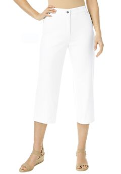 Cotton Capri Jean, WHITE