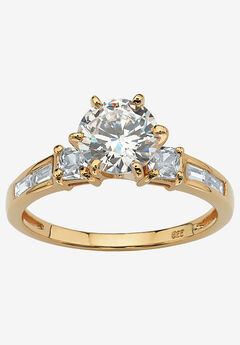 Yellow Gold over Sterling Silver Engagement Ring Cubic Zirconia (2 1/7 cttw TDW),