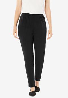 7-Day Knit Slim-Leg Pant, BLACK