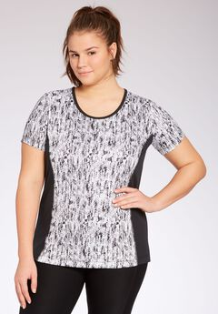 Sport tee by fullbeauty SPORT®, ABSTRACT MONOCHROME PRINT, hi-res