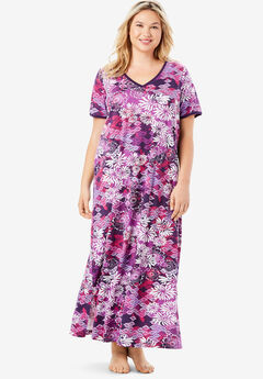 Long T-Shirt Lounger by Dreams & Co.®, RICH VIOLET BLOOMING