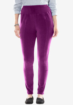 Ribbed Velour Leggings, BOYSENBERRY, hi-res