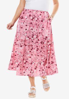 Linen Blend Maxi Skirt, SPRING BLOSSOM PINK, hi-res