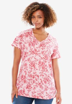 Perfect Printed V-Neck Tee, PINK ICE CHERRY BLOSSOM, hi-res