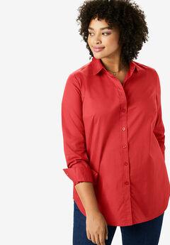 Perfect Long-Sleeve Button Down Shirt, SOFT GERANIUM