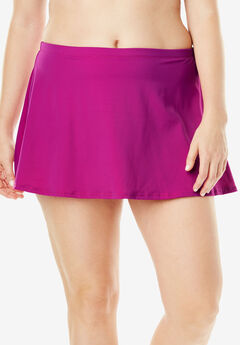 A-Line Swim Skirt with Built-In Brief, FUCHSIA