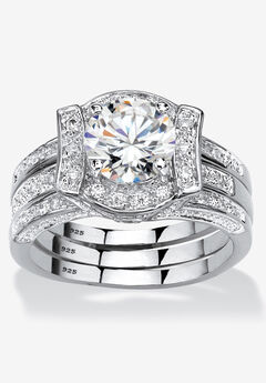 Cubic Zirconia Round Bridal Ring Set in Platinum over Sterling Silver,