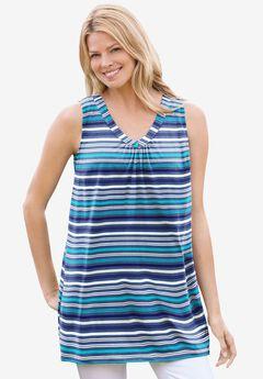 Perfect Printed Sleeveless Shirred V-Neck Tunic, ROYAL NAVY STRIPE