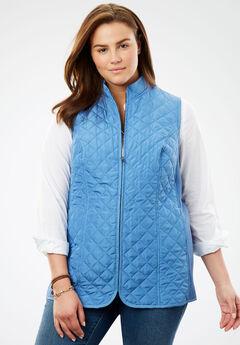 Diamond-Quilted Zip Front Vest, DUSTY INDIGO