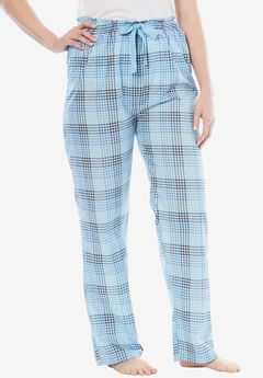 Cotton Print Pajama Pants by Dreams & Co.®, CRYSTAL SEA PLAID, hi-res