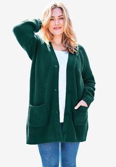 Long-Sleeve Shaker Cardigan Sweater, EMERALD GREEN
