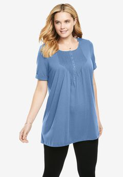 Short-Sleeve Pintucked Henley Tunic, FRENCH BLUE