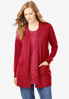 The Cotton Perfect Boyfriend Cardigan, CLASSIC RED
