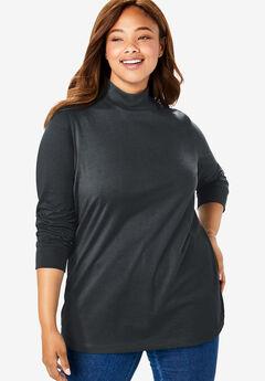 Perfect Long Sleeve Mock Turtleneck, BLACK