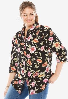 Cuffed Sleeve Peachskin Button Down Shirt, MULTI BOTANICAL, hi-res