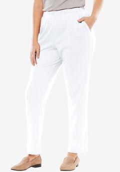 7-Day Knit Straight Leg Pant, WHITE