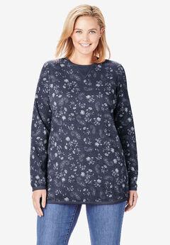 Thermal Sweatshirt, NAVY PAINT PAISLEY