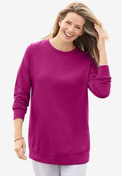 Fleece Sweatshirt, RASPBERRY