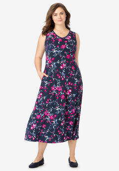 Sleeveless Print Fit & Flare Dress,