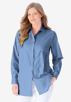 Perfect Long-Sleeve Button Down Shirt, FRENCH BLUE PRETTY STRIPE