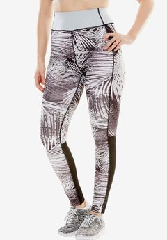 Mesh panel leggings by fullbeauty SPORT®, BLACK PALM, hi-res