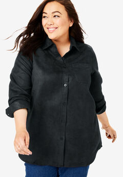 Shirt in soft moleskin, BLACK, hi-res