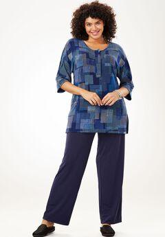 Graphic print knit top and pants set, NAVY LAYERED GRID, hi-res