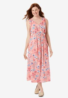 Sleeveless Surplice Maxi Dress,
