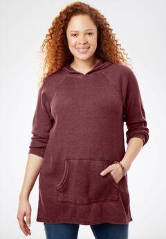Hooded Thermal Sweatshirt, ANTIQUE MAROON, hi-res