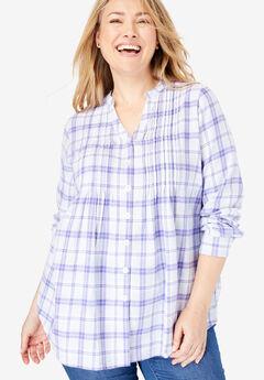 Pintucked Flannel Shirt, TULIP PURPLE PLAID