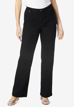 Wide Leg Stretch Jean, BLACK DENIM