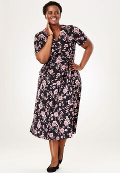 Midi Faux Wrap Dress, BLACK FLORAL, hi-res