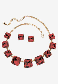 Gold Tone Necklace and Earring Set, Princess Cut Simulated Birthstones by PalmBeach Jewelry,