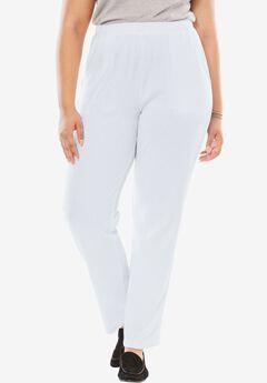 7-Day Knit Ribbed Straight Leg Pant, WHITE, hi-res