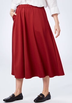 A-Line Ponte Skirt, RICH BURGUNDY, hi-res