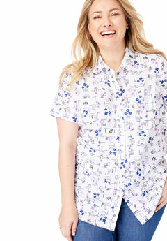 Perfect Short Sleeve Button Down Shirt, AMETHYST GRID FLORAL