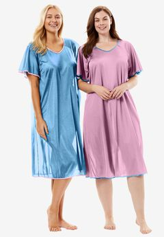 Short tricot knit 2-pack nightgown by Only Necessities®, CRYSTAL SEA ORCHID PINK, hi-res